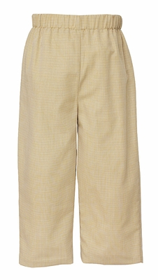 Anavini Baby / Toddler Boys Pull On Pants - Gingham - Khaki Tan