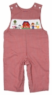 Anavini Baby / Toddler Boys Red Check Smocked Farm Barn Longall