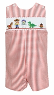 Anavini Baby / Toddler Boys Red Check Smocked Story Book Toy Friends Jon Jon