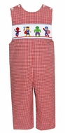 Anavini Baby / Toddler Boys Red Check Smocked Super Heroes Longall