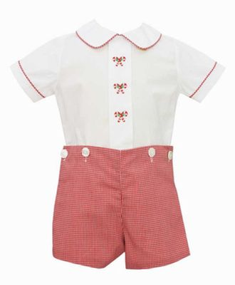 Anavini Baby / Toddler Boys Red Check Candy Canes Button On Set