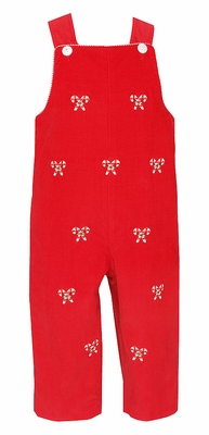 Anavini Baby / Toddler Boys Red Corduroy Longall - Embroidered Candy Canes - Reverses to Green Check