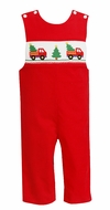 Anavini Baby / Toddler Boys Red Corduroy Smocked Christmas Tree Truck Longall