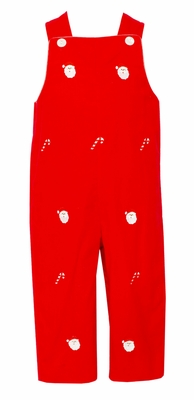Anavini Baby / Toddler Boys Red Corduroy Embroidered Santa Longall - Reverses to Red Check with Tree
