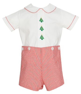 Anavini Baby / Toddler Boys Red Gingham Christmas Trees Button On Outfit
