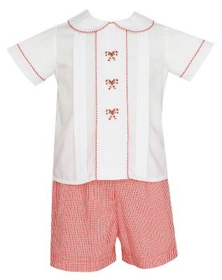 Anavini Baby / Toddler Boys Red Gingham Candy Canes Shorts Set