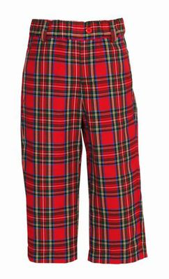 Anavini Baby / Toddler Boys Red / Green Holiday Plaid Tailored Pants