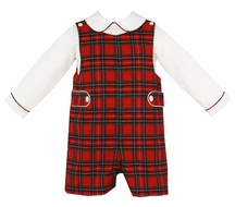 Anavini Baby / Toddler Boys Red Holiday Plaid Jon Jon with Shirt