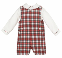 Anavini Couture Baby / Toddler Boys Red / White Holiday Plaid Shortall with Shirt