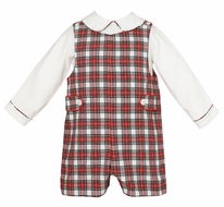 Anavini Baby / Toddler Boys Red / White Holiday Plaid Jon Jon with Shirt