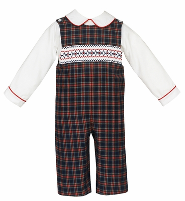 Anavini Baby / Toddler Boys Red / Navy Blue Plaid Smocked Longall with Shirt