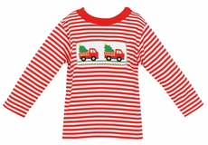 Anavini Baby / Toddler Boys Red Striped Knit Smocked Christmas Tree Trucks Shirt