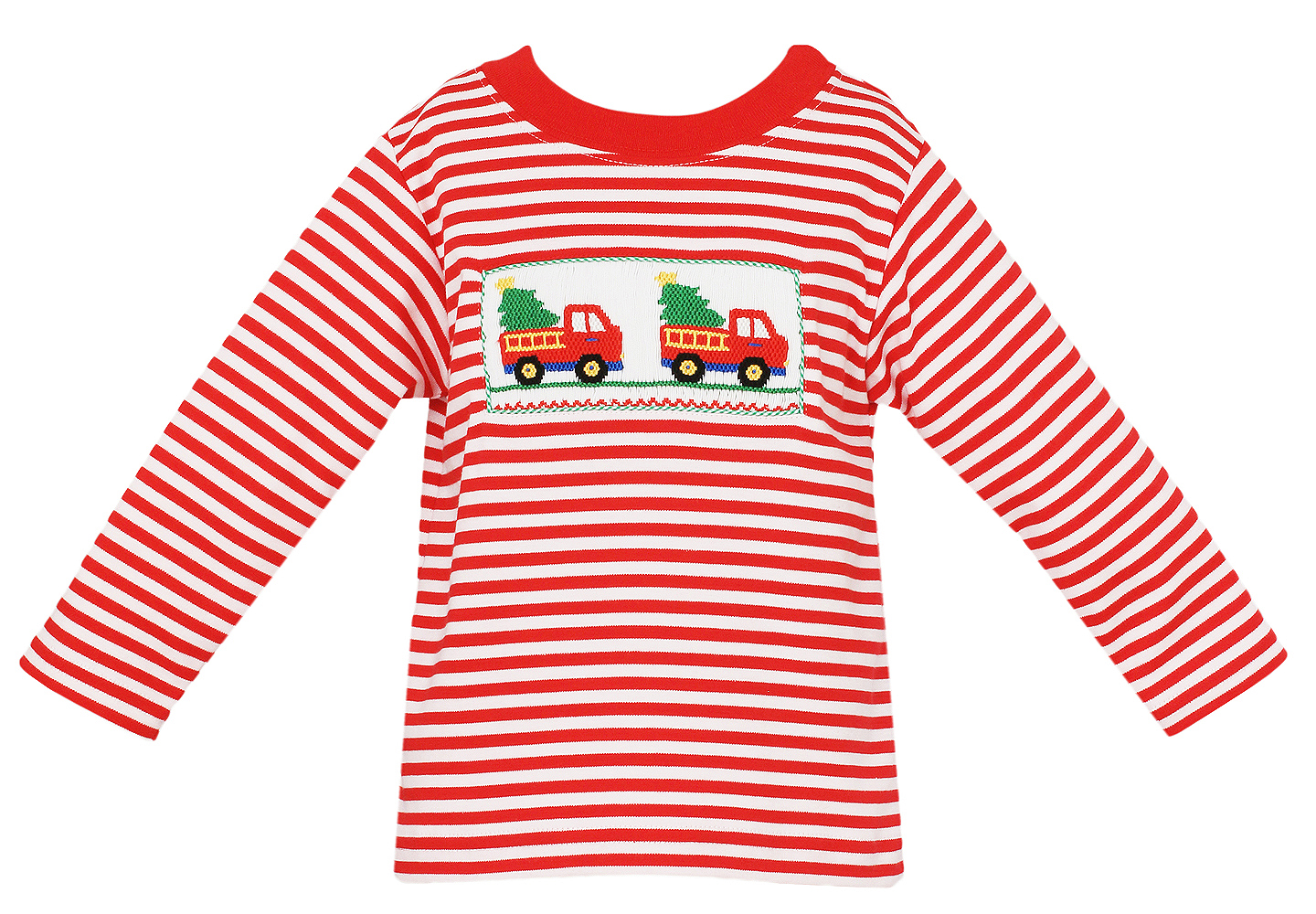 Anavini Baby Toddler Boys Red Striped Knit Smocked Christmas Tree