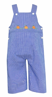 Anavini Baby / Toddler Boys Royal Blue Check Longall with Embroidered Pumpkins