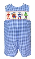 Anavini Baby / Toddler Boys Royal Blue Check Smocked Super Heroes Jon Jon