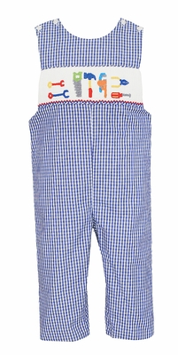 Anavini Baby / Toddler Boys Royal Blue Check Smocked Tools Longall