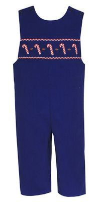 Anavini Baby / Toddler Boys Royal Blue Corduroy Smocked Candy Canes Longall