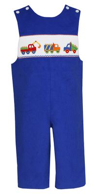 Anavini Baby / Toddler Boys Royal Blue Corduroy Smocked Construction Trucks Longall
