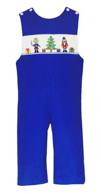Anavini Baby / Toddler Boys Royal Blue Corduroy Smocked Nutcracker Longall