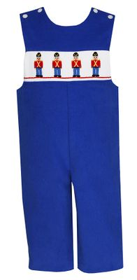 Anavini Baby / Toddler Boys Royal Blue Corduroy Smocked Soldiers Longall