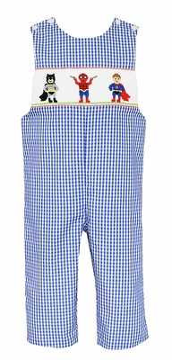Anavini Baby / Toddler Boys Royal Blue Gingham Smocked Super Heroes Longall