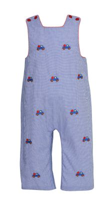 Anavini Baby / Toddler Boys Royal Blue Check Longall - Embroidered Apple Trucks