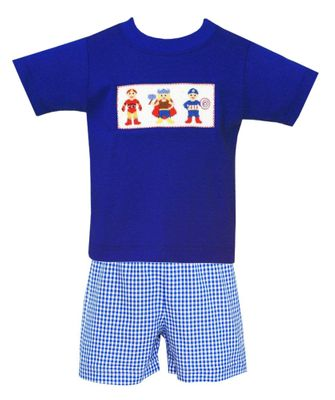 Anavini Baby / Toddler Boys Royal Blue Smocked Super Heroes Shirt with Check Shorts