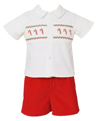 Anavini Baby / Toddler Boys Smocked Candy Canes Shirt with Red Corduroy Shorts