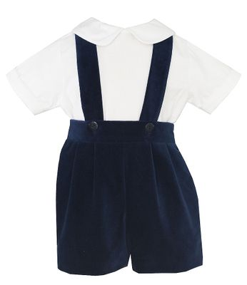Anavini Baby / Toddler Boys Suspender Shorts Set with Shirt - Blue Velvet