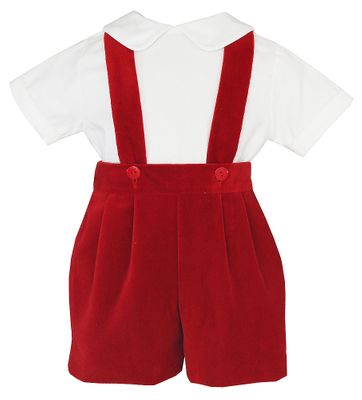 Anavini Baby / Toddler Boys Suspender Shorts Set with Shirt - Red Velvet