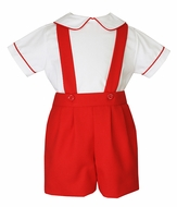 Anavini Couture Baby / Toddler Boys Suspender Shorts Set with Shirt - Red Viella