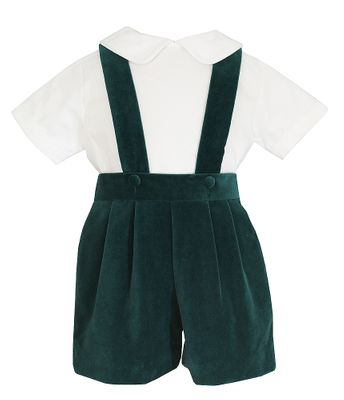 Anavini Baby / Toddler Boys Suspender Shorts with Shirt - Green Velvet