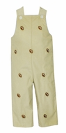 Anavini Baby / Toddler Boys Tan Khaki Corduroy Longall - Embroidered Footballs - Reverses to Blue Check with Firetruck
