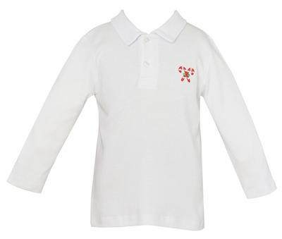 Anavini Baby / Toddler Boys White Polo Shirt with Embroidered Candy Cane