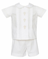 Anavini Baby / Toddler Boys White Poplin Embroidered Crosses Short Set