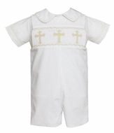 Anavini Baby / Toddler Boys White Poplin Smocked Crosses Jon Jon with Shirt