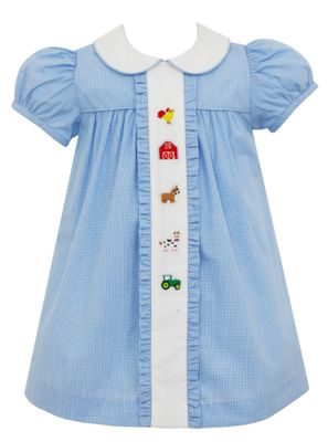 Anavini Baby / Toddler Girls Blue Check Embroidery Farm Dress
