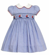 Anavini Baby / Toddler Girls Blue Check Smocked Sailboats Float Dress