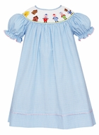 Anavini Baby / Toddler Girls Blue Check Smocked Three Little Pigs Bishop Dress