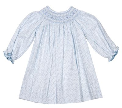 Anavini Baby / Toddler Girls Blue Floral Smocked Dress - Long Sleeved Bishop