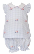 Anavini Baby / Toddler Girls Blue Gingham Seersucker Embroidered Golf Carts Bloomer Set