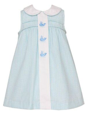 Anavini Baby / Toddler Girls Blue / Green Stripe Sleeveless Whales Dress