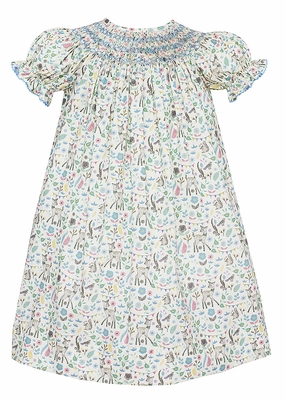 Anavini Baby / Toddler Girls Blue / Green Liberty Forest Print Smocked Bishop Dress