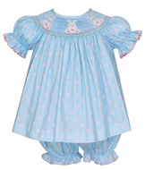 Anavini Baby / Toddler Girls Blue / Pink Dots Smocked Bunny Bloomers Set