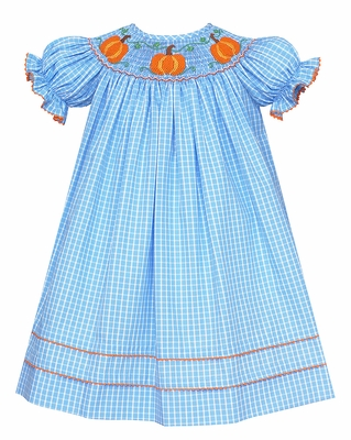 Anavini Baby / Toddler Girls Blue Plaid Smocked Orange Pumpkins Bishop Dress
