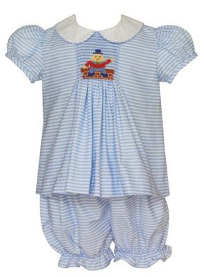 Anavini Baby / Toddler Girls Blue Stripe Smocked Humpty Dumpty Bloomers Set