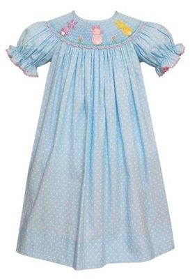 Anavini Baby / Toddler Girls Blue / White Dots Smocked Pastel Peeps Cottontails Easter Bunny Bishop Dress