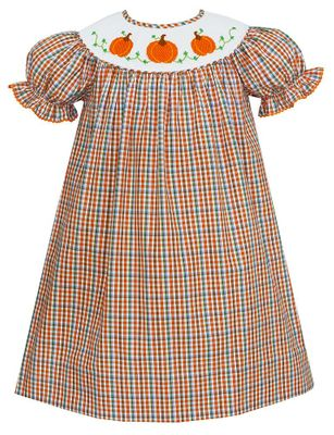 Anavini Baby / Toddler Girls Orange Plaid Smocked Pumpkins Bishop Dress