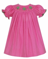 Anavini Baby / Toddler Girls Bubblegum Pink Corduroy Smocked Christmas Trees Dress - Bishop