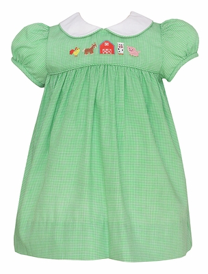 Anavini Baby / Toddler Girls Green Check Farm Animals Dress with Collar